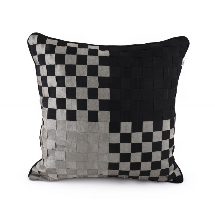 Basket Black Cushion Cover Cotton Cushion Covers in Black Colour by Living Essence