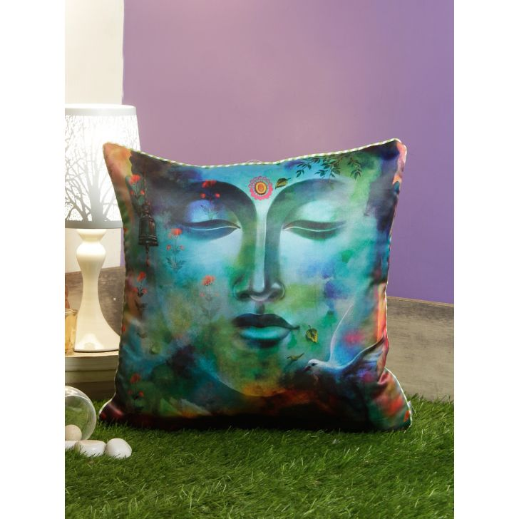 Digi Buddha Polyester Cushion Covers in Blue Colour by Living Essence