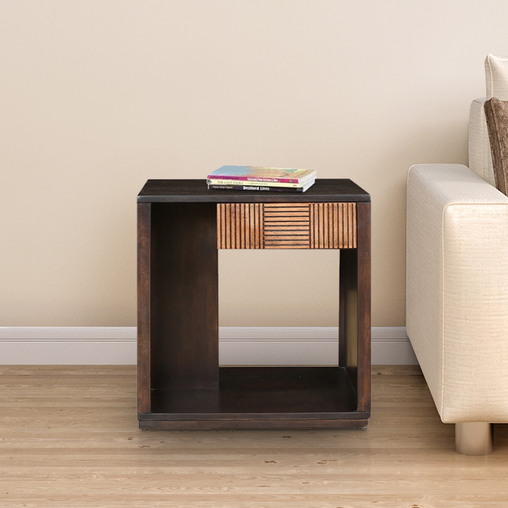 Sienna Engineered Wood End Table in Wenge&Oak Colour by HomeTown