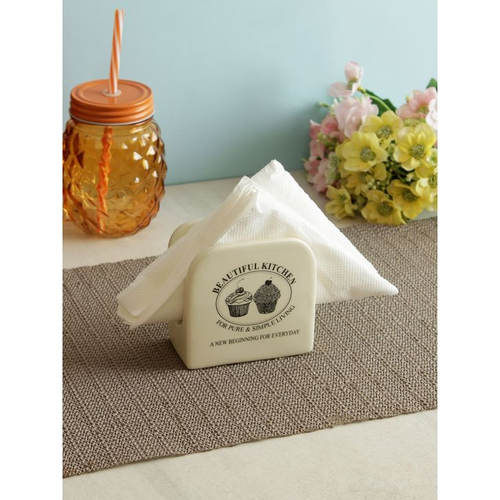 Wood Tissue holder in White Colour by Living Essence