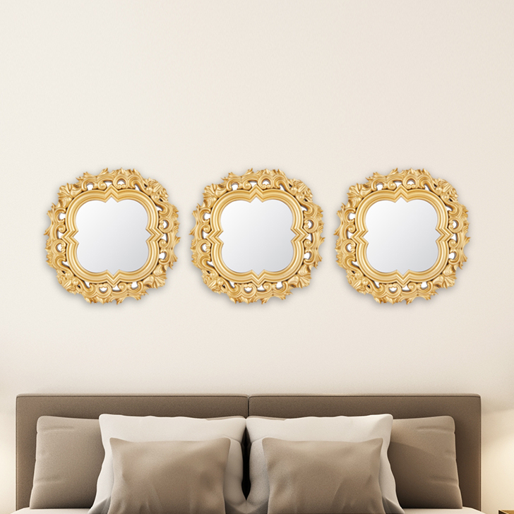 Mirage Ornate Jaali Set Of Three Gold Mirror Wall Accents in Gold Colour by Living Essence