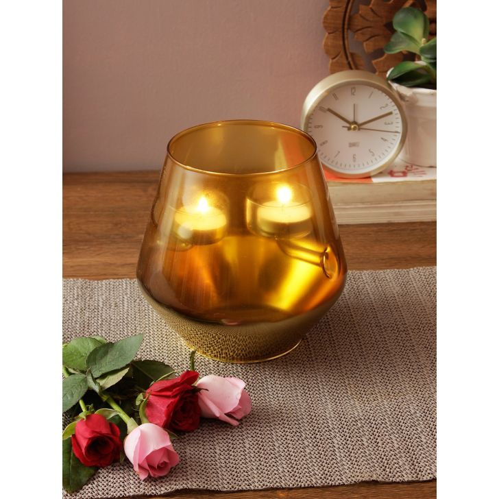 Eva Glass Candle Holder Full Gold Glass Candle Holders in Gold Colour by Living Essence