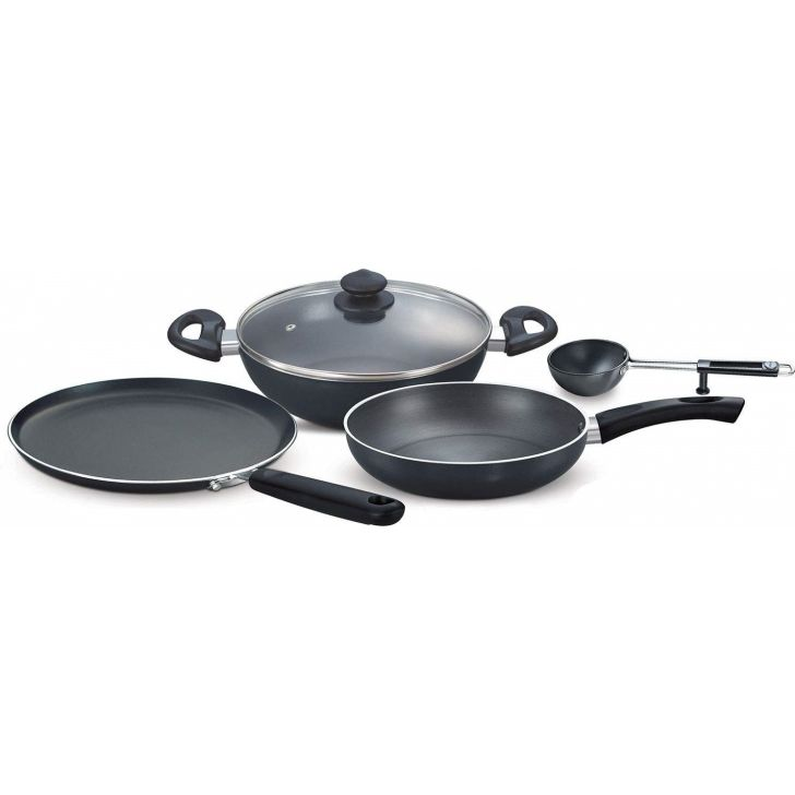 Hard Anodised Magna 4 pcs Induction Bottom Cookware Aluminium in Black Colour by Prestige