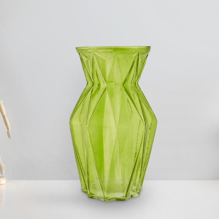 Marvela Colored Glass Vase Sprayed Lime Glass Vases in Lime Colour by Living Essence