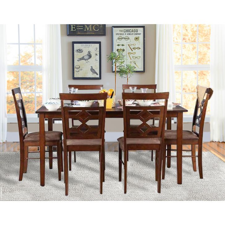 Eva Engineered Wood Six Seater Dining Set in Wenge Colour by HomeTown