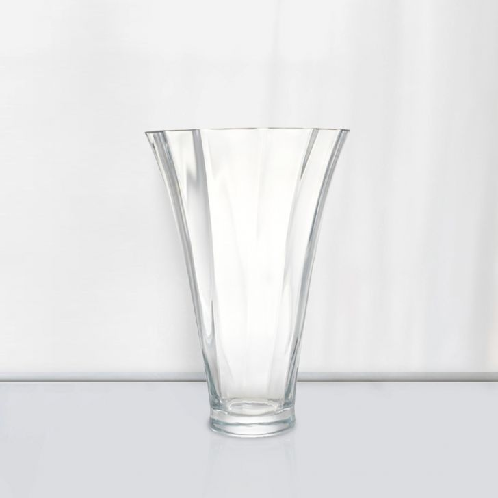 Nile Tall Optic Glass Vase 30 Cm Glass Vases in CLEAR Colour by Living Essence