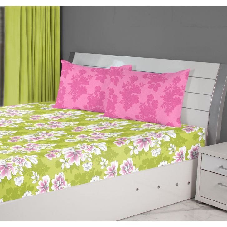 Fiesta Leaf Cotton Double Bedsheets in Green Colour by Living Essence