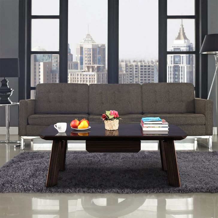 Leslie Engineered Wood High Gloss Center Table in High Gloss Ebony + Rose Gold Colour by HomeTown