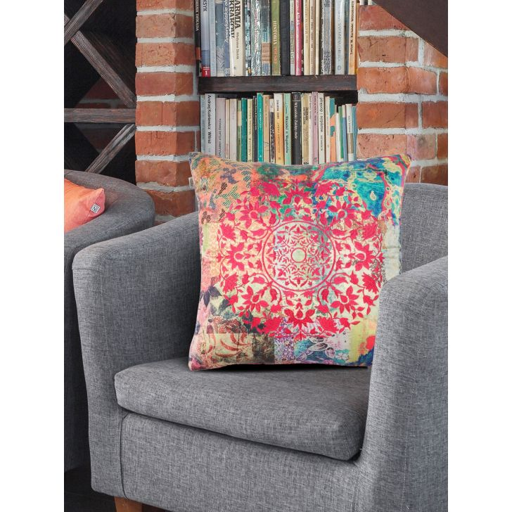 Digi Mandala Cotton Cushion Covers in Fushia Colour by Living Essence