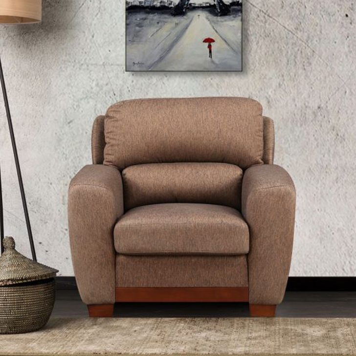 Brendon Fabric Single Seater sofa in Brown Colour by HomeTown