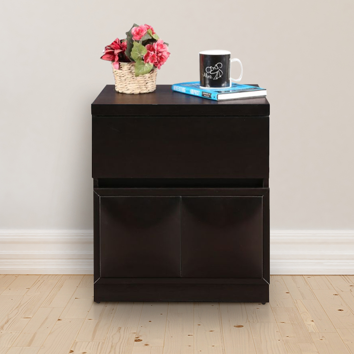 Imperial Rubber Wood Bedside Table in Walnut Colour by HomeTown