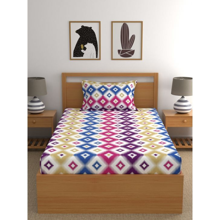 Candy Floss Cotton Single Bedsheet 147 x 220cms in Pink Colour