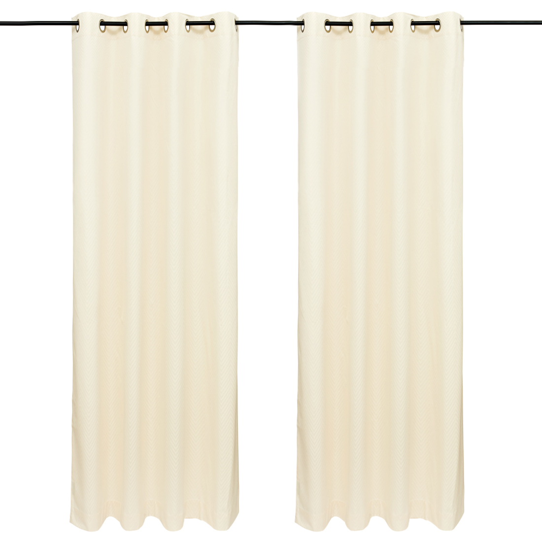 Emilia Jacquard set of 2 Polyester Door Curtains in Off white Colour by Living Essence