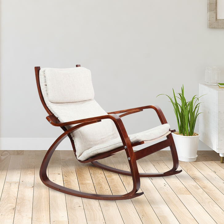 Vita Engineered Wood Rocking Chair in Beige Colour by HomeTown