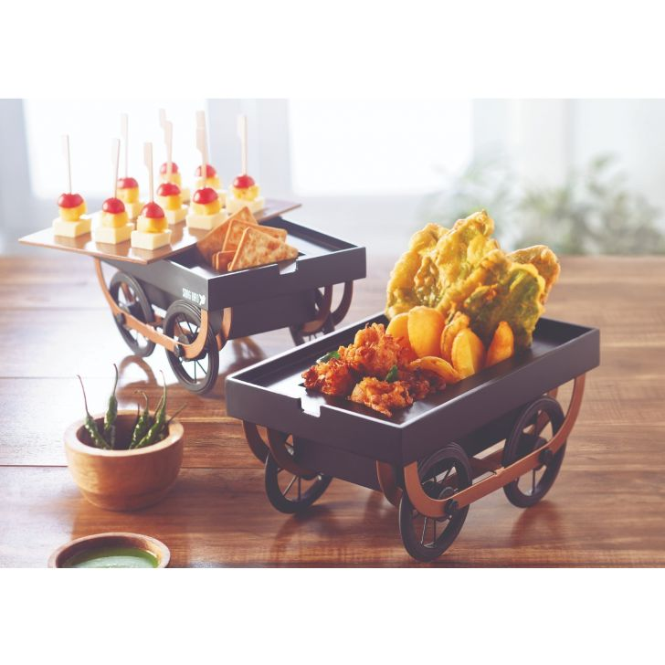 Songbird Dry Snack Serving Cart MDF Serving Sets in Black And Copper Colour by Songbird