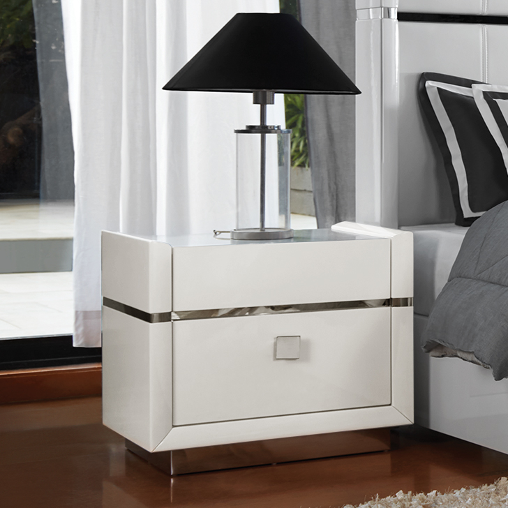 Diana Engineered Wood Bedside Table in White Colour by HomeTown