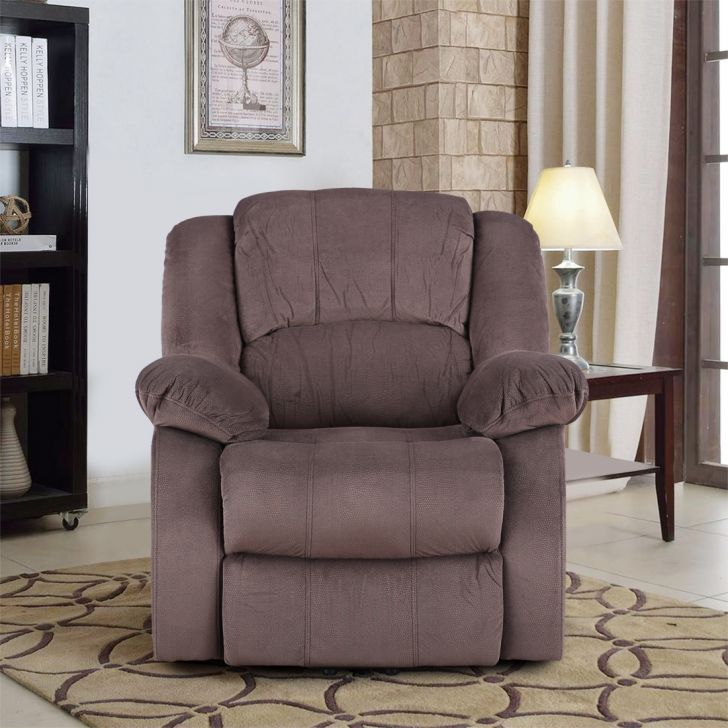 Rhea Fabric Single Seater Electric Recliner in Brown Colour by HomeTown