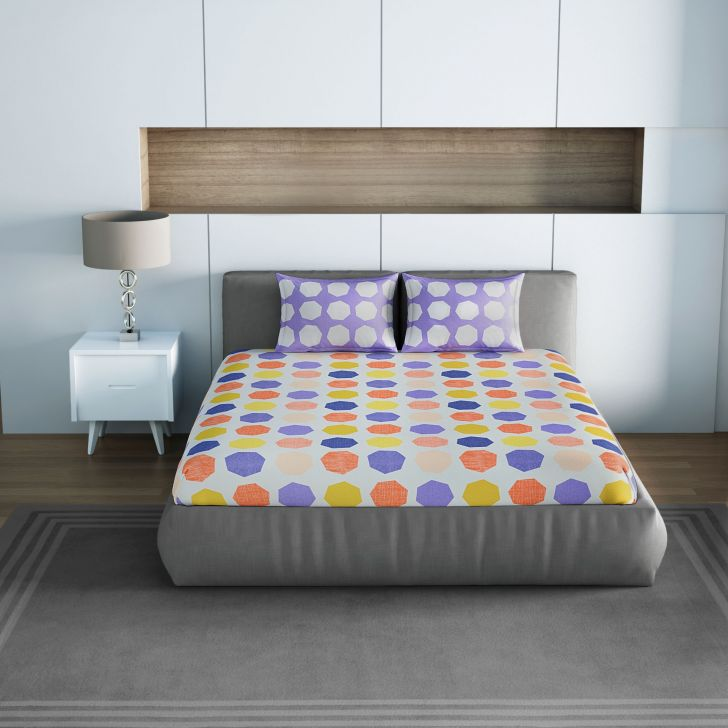Spaces Allure Purple 1N Double Bed Sheet