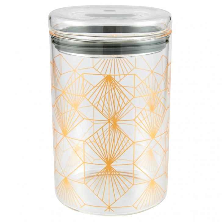 Borosilicate Glass Canister G Decal 1 L in Transparent Colour by Living Essence