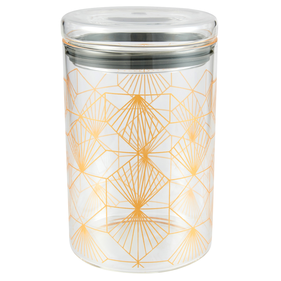 Borosilicate Canister 1 L Glass Canisters & Jars in Transparent Colour by Living Essence