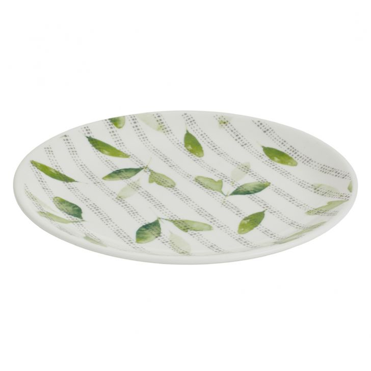 Petite Petals Quarter Plate Ceramic Plates in White And Green Colour by Living Essence