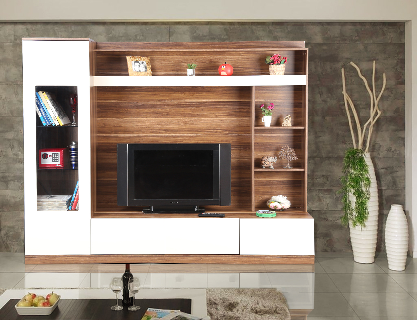 Julian Engineered Wood TV Unit in High Gloss Apple Wood Colour by HomeTown