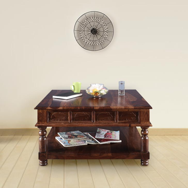 Tuskar Solid Wood Center Table in Walnut Colour by HomeTown