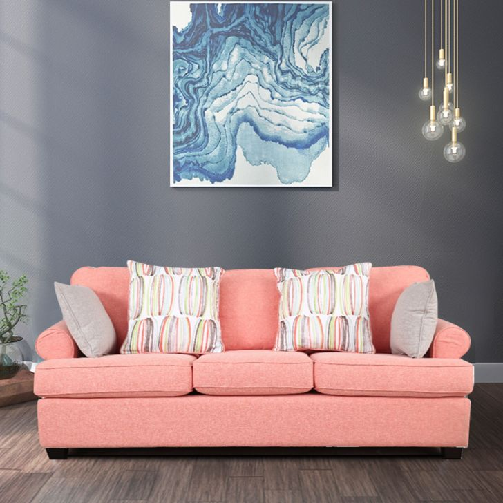 Cadence Fabric Three Seater Sofa in Coral Colour by HomeTown