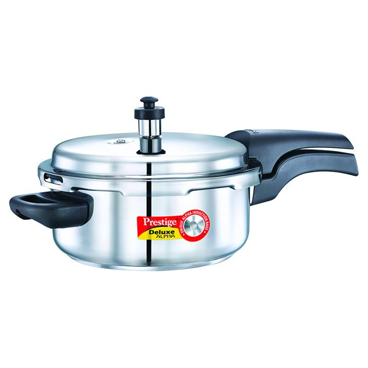 Prestige Deluxe Alpha Stainless Steel Pressure Cooker 3 Ltr Stainless steel Cookers in Silver Colour by Prestige