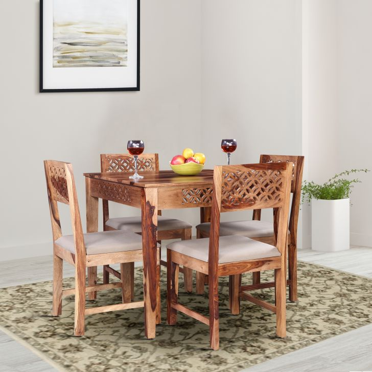 Floris Solidwood Four Seater Square Dining Set in Teak Colour by HomeTown