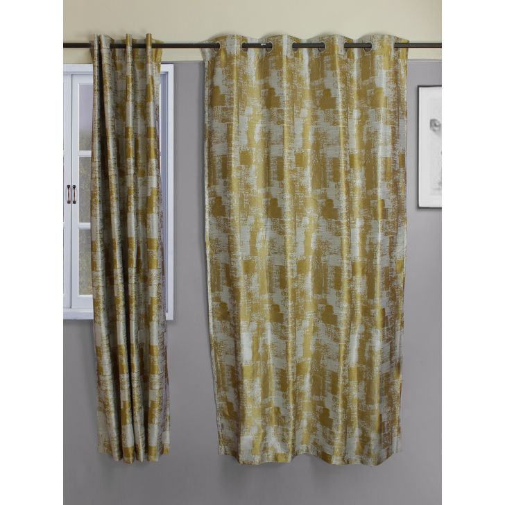 Set of 2 Amour Polyester Door Curtains in Mustard Colour by Living Essence