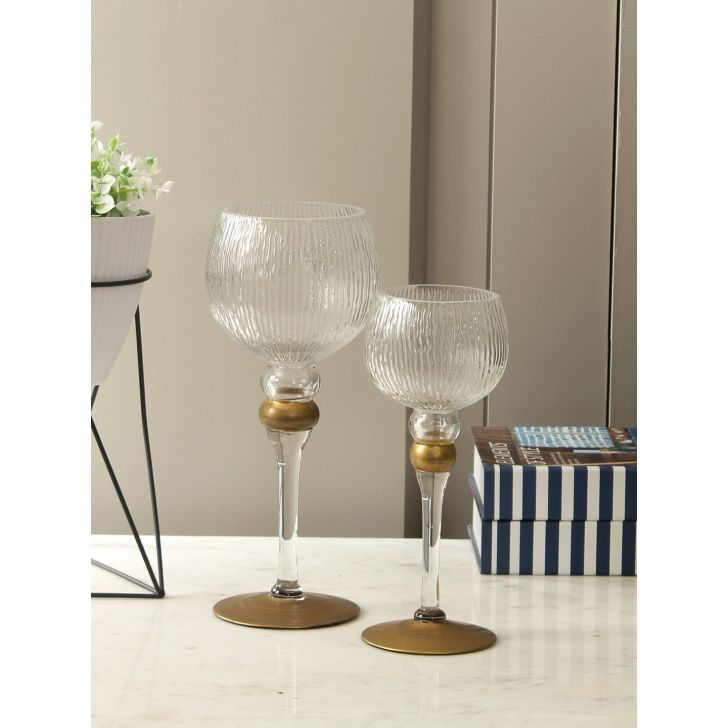 Claire Glass Set Of 2 Candle Holder in Clear Colour by Living Essence
