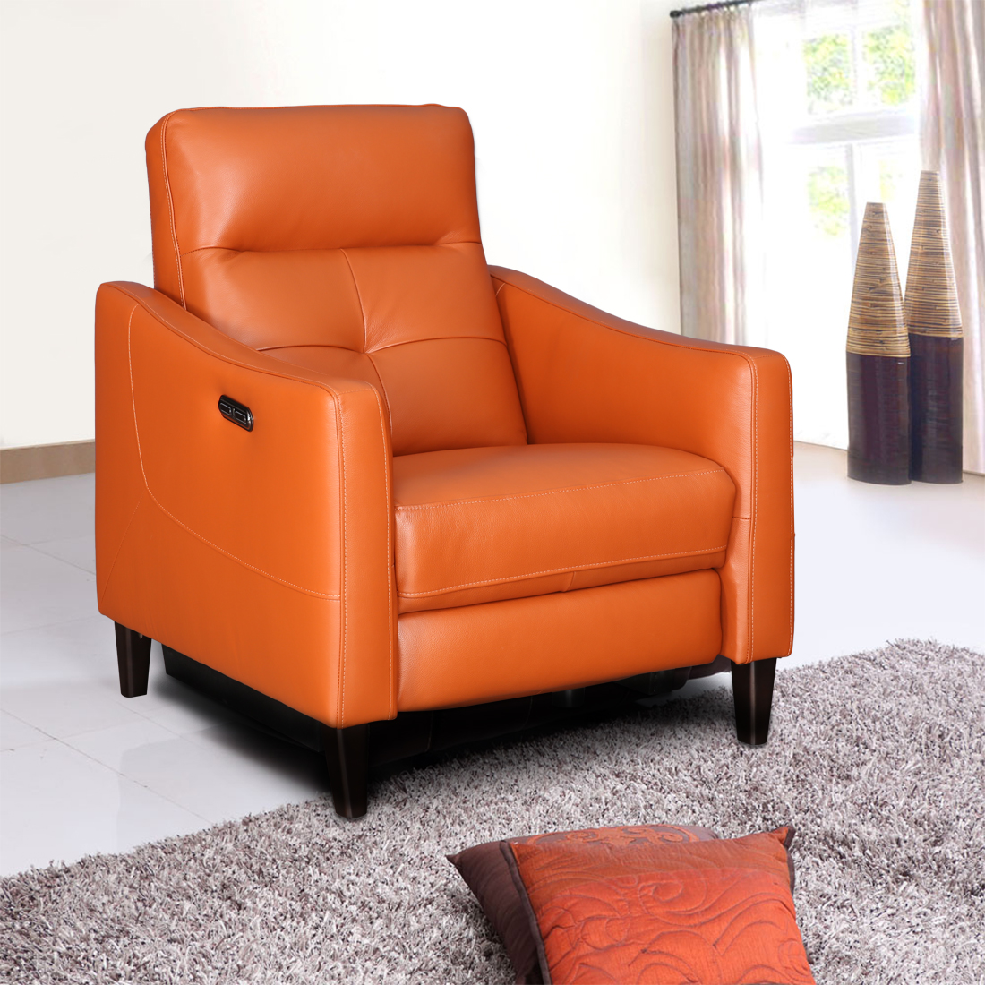 Hilton Half Leather Single Seater Recliner in Tan Colour by HomeTown