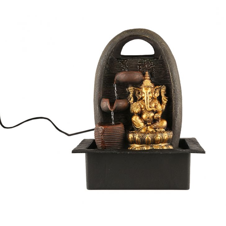 Impression Ganesha Pot Polyresin Small Fountains in Brown/Gold Colour by Living Essence