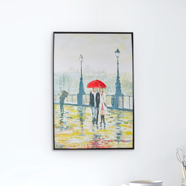 Craig People In Rain Painting Canvas Paintings in Multicolor Colour by Living Essence