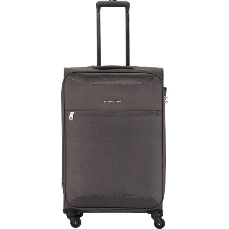 Zaka 67 cm Polyester Soft Trolley in Grey Colour by Kamiliant