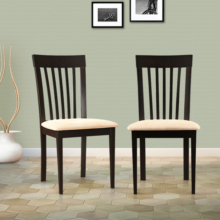 Bentley Solid Wood Dining Chair Set of Two in Dark Walnut Colour by HomeTown