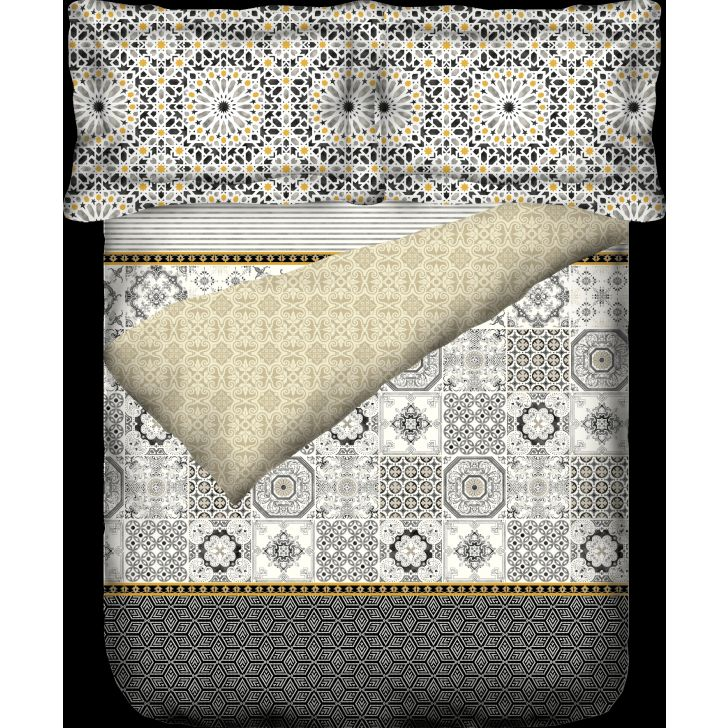 Portico New York Mosaics King Duvet Cover 274 cms x 229 cms in Multicolor Color by Portico