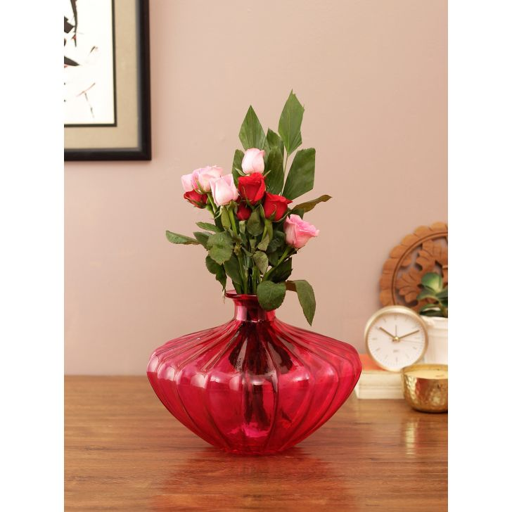 Eva Oval Ribbed  Glass Vase Pink Glass Vases in Pink Colour by Living Essence