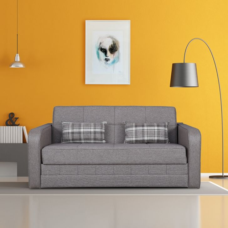 Caroline Solid Wood Sofa cum Bed in Brown Colour by HomeTown