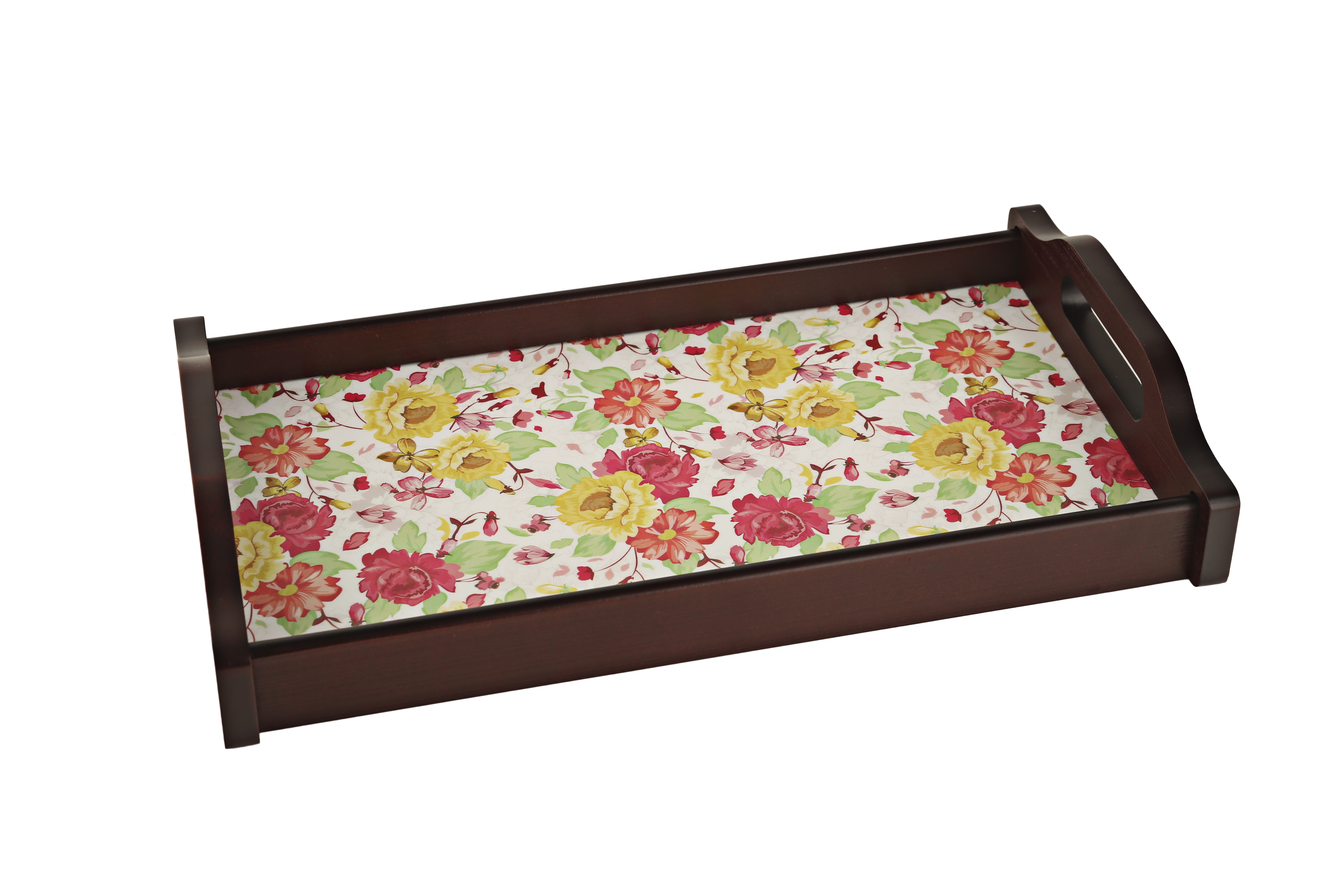 English Floral Small Timber Wood Trays in Multicolor Colour by Living Essence