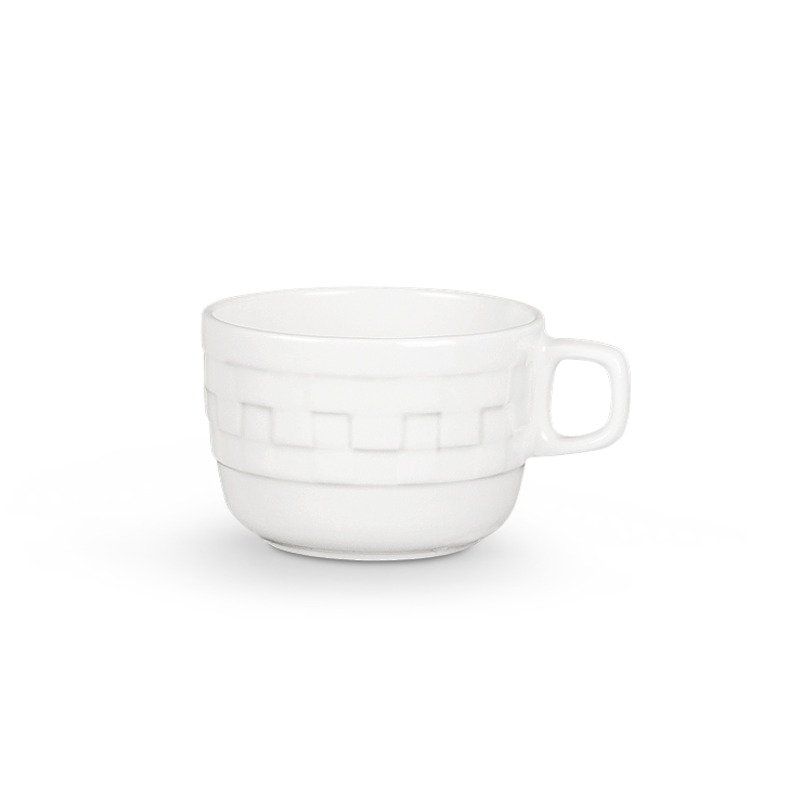 Chequered Cup And Saucer Porcelain Cups & Saucers in White Colour by Living Essence
