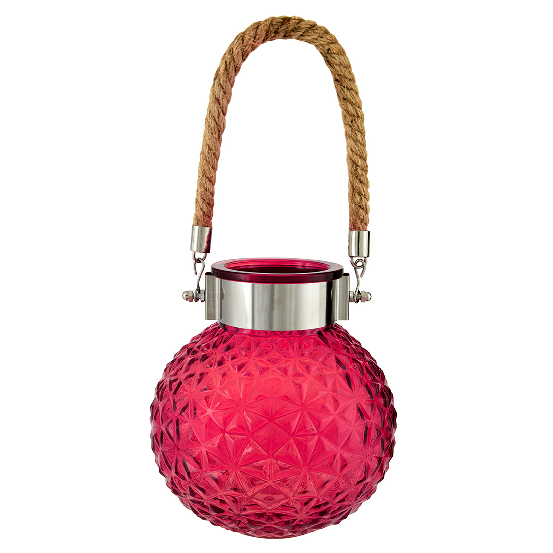 Marvela Colored Glass Vase With Rope Glass Candle Holders in Red Colour by Living Essence