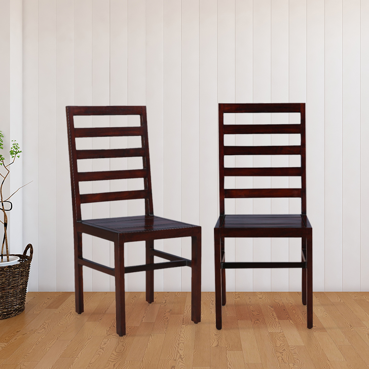 Durham Solid Wood Dining Chair Set of Two in Walnut Colour by HomeTown