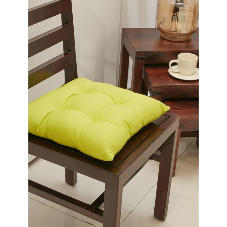 . Cotton Chair Pads in Citron Colour by Living Essence