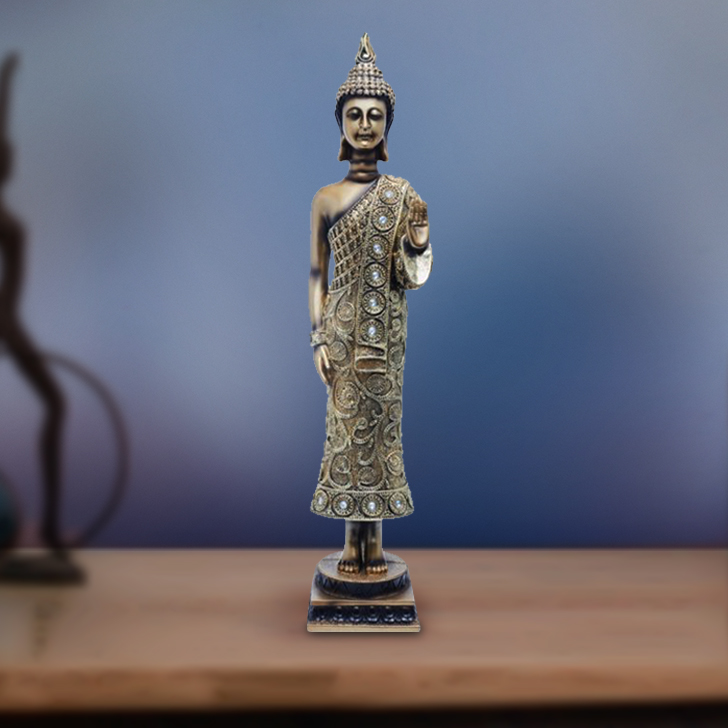 Fio Standing Buddha Figurines Polyresin Idols in Multicolor Colour by Living Essence