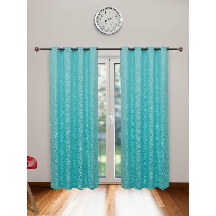 Fiesta Jacquard Set of 2 Cotton Door Curtains in Turquoise Colour by Living Essence