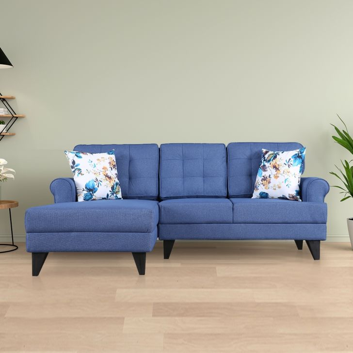 Paddington Fabric Right Hand Side Lounger in Blue Colour by HomeTown