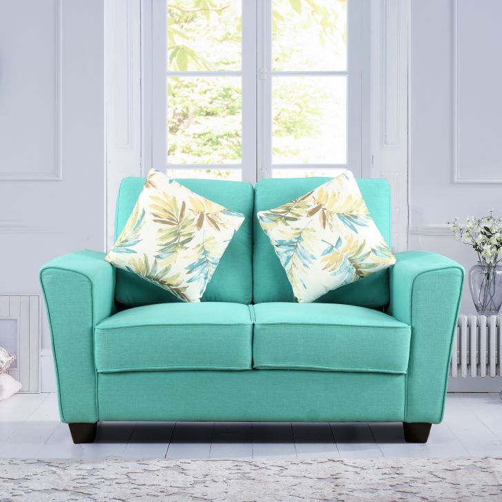 Rogers Fabric Two Seater sofa in Teal Colour by HomeTown