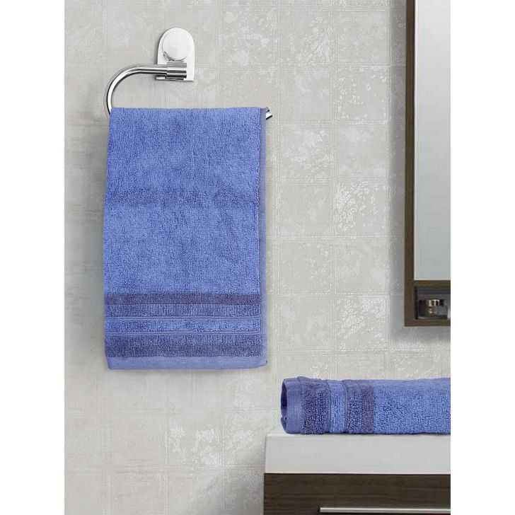 Spaces Bamboo Charcoal Solid 550 Gsm Cotton Blue 2 Pcs Set Hand Towel